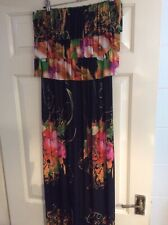 LADIES MIZUMI MULTICOLOURED MAXI BANDEAU DRESS SIZE SMALL 8/10
