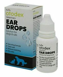 Otodex Ear Drops for Dogs Cats Kills Mites Fast Acting Clears Wax Relieves Sooth
