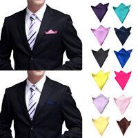 Men Fashion Solid Color 4 Folds Prefold Pocket Square Handkerchief Wedding Hanky
