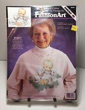 Vintage FashionArt Iron On Transfer Girl And Lambs Kawaii Grandma Sweatshirt