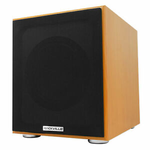 """Rockville Rock Shaker 8"""" Classic Wood 400w Powered Home Theater Subwoofer Sub"""