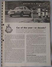 1968 NSU Ro80 Original Motor magazine Road test