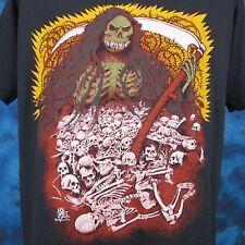vintage 80s GRIM REAPER CARTOON PAPER THIN T-Shirt LARGE/XL satan skeleton punk