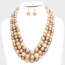 Three Layers Multi Brown Cream Faux Pearl Necklace Earring Set