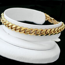 """MENS 9""""   7mm Thick Rounded CURB Link 14K GOLD GL Bracelet   LIFE GUARANTEE"""
