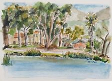 Original watercolor (Image: 4.5 x 6.5 inches) Lindo Lake, Lakeside, California