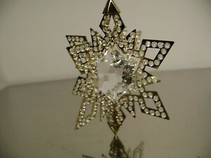 GOLD STAR  SNOWFLAKE HOLIDAY SWAROVSKI CRYSTAL & METAL ORNAMENT