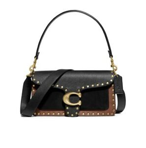 NWT COACH 79338 Tabby 26 Leather Shoulder Bag, Tan Black Studded Pebbled Leather