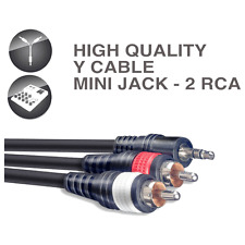 1 Câble Jack 3,5 STEREO Mâle  vers 2 RCA Mâle Longueur 1 Métre