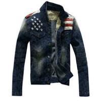 Outwear Fashion Long Sleeve Mens Short Slim Casual Denim Jacket Retro Coat