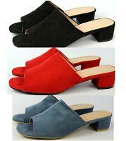 Womens Low Block Heel Mules Slip On Sandals Shoes Open Toe Sliders Sizes 3-8