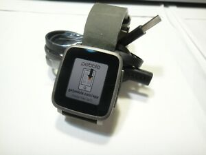 Pebble Time Steel 38mm Stainless Steel Case Black Classic Buckle