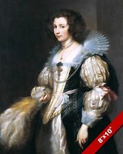 17TH CENTURY NOBLE WOMAN YOUNG GIRL IN DRESS PAINTING ART REAL CANVAS PRINT