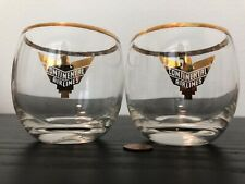 Vintage 40s-50s Continental Airlines Eagle Gold Accent Logo Rim Glass RARE LOT 1