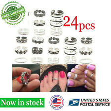 Charm Jewelry Silver Daisy Toe Ring Women 24pcs Punk Open Finger Foot Jewelry