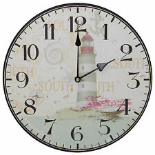 "TKF 13"" Wall Clock with Lighthouse Beach Nautical Artwork Rustic Prints"