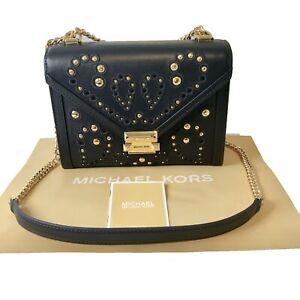 Michael Kors Leather Small Navy Blue Gold Shoulder Bag Whitney
