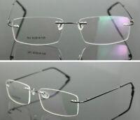 Herren Titanlegierung Randlos Brillengestelle Rx Brille Rahmen Leicht Rahmenlos