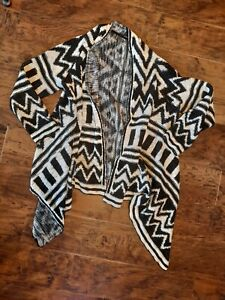 Gorgeous Black & White Open Front Cardigan size Large by George