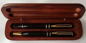 WTM Black Metal Ball and Roller Pen Set in Dark Wood Box