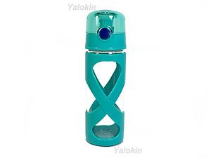 NEW Green BPA Lead Free Flip Lid GLASS Beverage Bottle 16 oz (0.5 Liter)