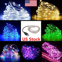 US New 5M/10M USB LED Copper Wire String Fairy Waterproof Light Strip Lamp Party
