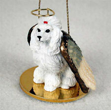 Poodle Dog Figurine Angel Statue Hand Painted White