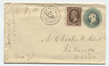 c1880 West Gouldsbourogh ME registered cover 10ct banknote [y3346]