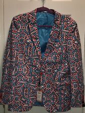 New SUSLO COUTURE Chrsitmas Holiday Men's Blazer Slim Fit Candy Canes M 40