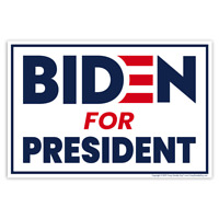 Political Campaign Yard Sign w/Stake, Joe Biden President 2020, 2-Sided, 18 x 12