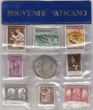 More details for vatican souvenir eight stamp & silver coin set in wallet.