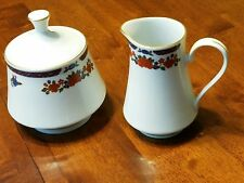 Crown Ming Old Imari Porcelain China Creamer & Sugar Bowl with Lid