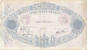 Billet 500 F Bleu et Rose du 24 mars 1938 FAY 31.06 Alph. N.2770