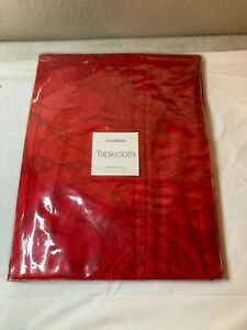 CRATE & BARREL  CHRISTMAS TABLECLOTH  RED  60 X 108   FREE SHIP  NEW