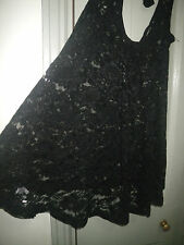 Target Free Fusion 6 XS Black Soft Stretch Lace Tie Back Tank Long Top Lingerie
