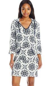 Nautica Sleepwear Plush Plaid Hoodie Chemise, Maritime Navy Snow, SMALL $58.00