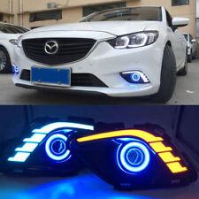 LED DRL Daytime Fog Lights Turn signal +angel eye kit For Mazda 6 Atenza 13-2016