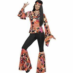 70's Groovy Disco Pantsuit 3Pc Black & Orange Multi Color Pants Top & Scarf