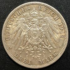 Germany (Prussia) 1912A 3 Marks Silver Coin: Wilhelm II