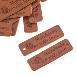 24X Handmade with Love Labels Tags Hairball PU Leather Sewing Clothing Patch DIY