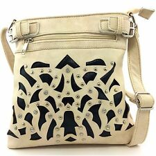 Western Cowgirl Beige Laser Cut Rhinestone Concealed Carry Messenger Purse Bag