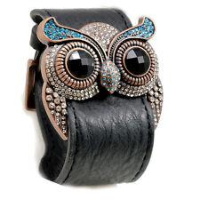 Accents Kingdom Owl Leather Cuff Bracelet Simulated Aquamarine Crystal