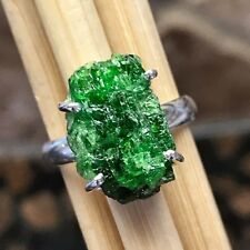 Genuine Russian Green Diopside 925 Solid Sterling Silver Cluster Ring 7.25