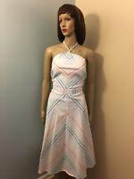 NEW YORK & CO Sz L White Pastel Multi Color Cotton A LINE HALTER DRESS Pockets