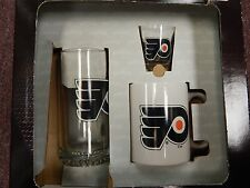 NHL PHILADELPHIA FLYERS 3 Piece Glassware Set  New in Box Made by Hunter Mfg.