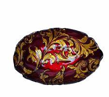 Goofus glass candy dish nut bowl serving plate red gold vine vtg antique deco US