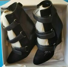 ISABEL MARANT  leather Over goat fur Pierce wedges runway  boots SZ 40 ($1560)
