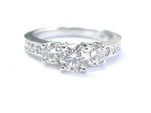 Natural Round Cut Diamond Three-Stone diamond Engagement White Gold Ring 1.45Ct