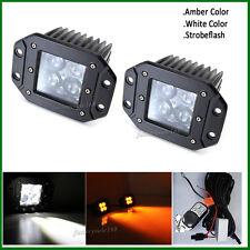 Set 24W 4D LED Work Light Flush Mount Pods White&Amber&Strobeflash Spot Remote