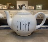 Rae Dunn - Magenta - 'STEEP' Teapot Ceramic - Ivory Large Letter Farmhouse
